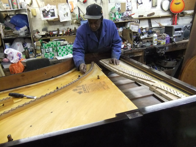 Grand Restoration - piano soundboard repair