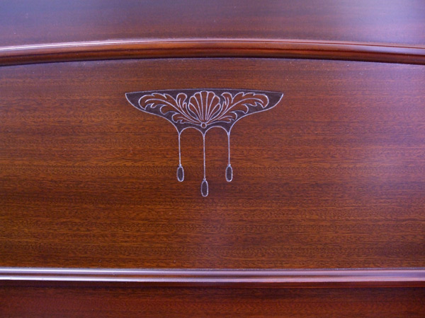 Broadwood upright piano detail 3 - fully restored
