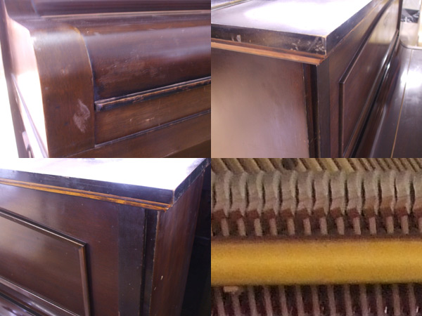 Broadwood upright piano details - unrestored